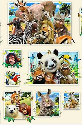Zoo Selfies Quilt Panel * New* Cream * Very Cute * In Stock * Free Post *