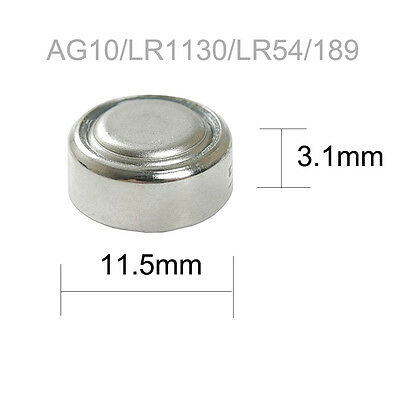 100x Button Cell 1.5V AG10 LR1130 LR54 189 389A Alkaline Battery for Toys PKCELL