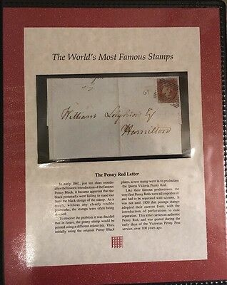 Westminster Collection Penny Red Letter Authentic 1841 Stamp Mint COA