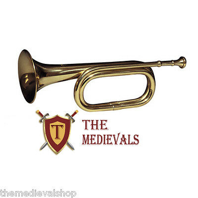 """brass army military funeral taps cavalry b-flat bugle 13"""" with mouthpiece 10405"""
