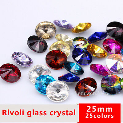 6p 25mm Round Pointed back faceted Crystal Rhinestone big stone Gem Multi-colors