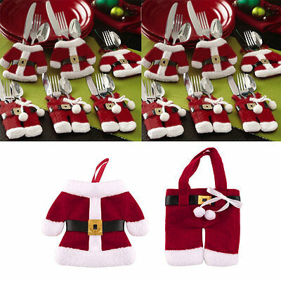 New Claus Christmas Cutlery Holder Bags Fork Spoon Pockets Christmas Decor OI