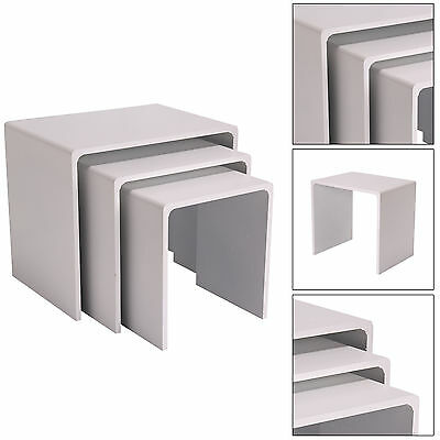 Nesting End Table Set of 3 Side White Display Coffee Nested Table UK