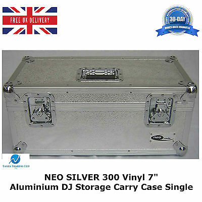 "1 X NEO SILVER Aluminium DJ Storage Carry Case Holds 300 Vinyl 7"" Single Records"