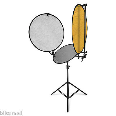 78cm/57cm 2in1 Collapsible Studio Photo Light Reflector Stand Board Panels Disc