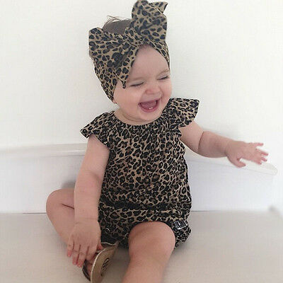 Cute Newborn Baby Girl Casual Romper Leopard Outfit Sleeveless Clothes Headband