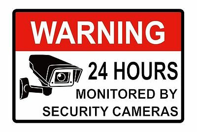 """10 X CCTV SECURITY CAMERA Video Alarm Decal Labels Warning Sticker 24hr 2""""x3"""""""