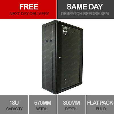 "18U 19"" Network Cabinet Rack Wall Mounted 570*300mm Black Data Comms Patch Panel"