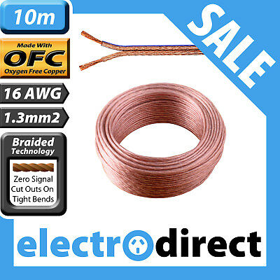 10m 16AWG (1.3mm2) Speaker Cable Roll 100% Pure Copper OFC - 16 Guage Wire Cord