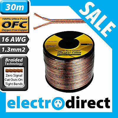 30m 16AWG (1.3mm2) Speaker Cable Roll 100% Pure OFC - 16 Guage Wire Audio Cord