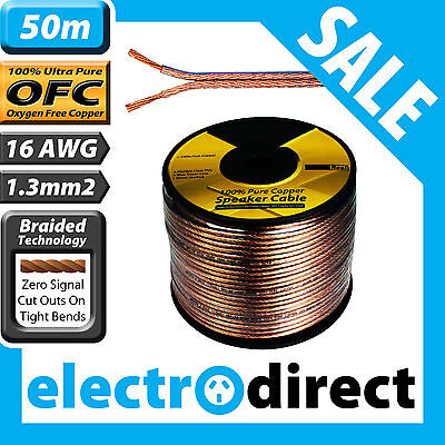 50m 16AWG (1.3mm2) Speaker Cable Reel 100% Pure Copper OFC - 16 Guage Wire Roll