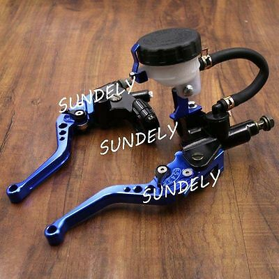NEW 7/8'' Motorcycle Clutch Master Cylinder Levers Reservoir Universal Blue