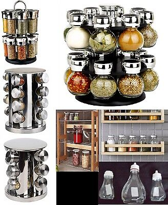 Glass Spice Herb Jar Jars Revolving Stand Rack Holder Stainless Steel