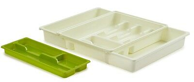 Adjustable Expanding Drawer Organiser Cutlery Tray With Sliding Top Cream & Lime