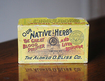 Vtg. Cardboard Advertising Box- Alonzo Bliss Co. Medicine -Blood Purifier/liver