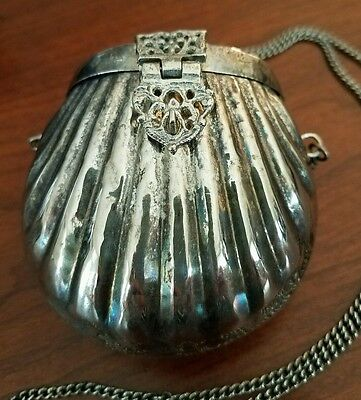 Antique Mini Purse Silverplated Victorian Clam Shell Shaped  Blue Velvet Lining