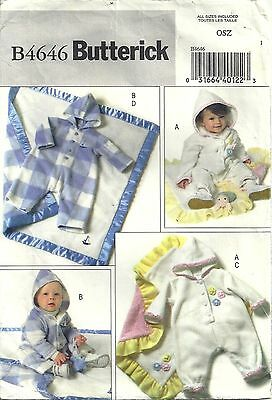 Butterick Sewing Pattern B4646 Infants' Jumpsuit and Blanket Newborn to Large