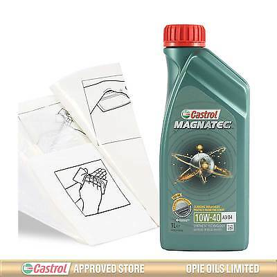 Castrol Magnatec 10W-40 A3/B4 Engine Oil Top Up 1 LITRE + Gloves,Wipes,Funnel