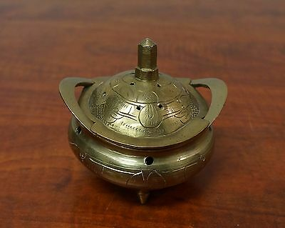 Vintage Brass Chinese Footed Incense Burner with Lid  Signed