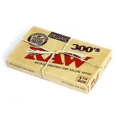 RAW Organic 300 Unrefined 1.25 1 1/4 Size Cigarette Rolling Papers, 1 Pack = 300
