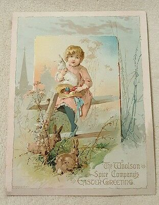 Vintage Antique Woolson Spice Co Lion Coffee Victorian Trade Card Easter