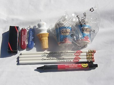 Dairy Queen. 4 pencils, cone whistle,pen, 2 blizzard topper,2  knives