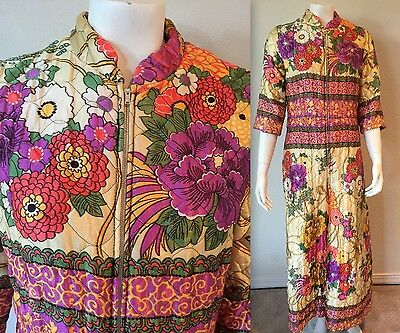 Vtg 60s 70s QUILTED Floral Wide Leg Palazzo Pants Jumpsuit Lounge Hostess Zip