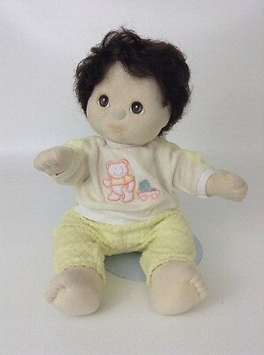 Vintage 1985 Mattel MY CHILD BOY Doll Brown Hair & Eyes 80's Plush Jointed Baby
