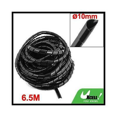 8M Long Flexible Black Polyethylene Spiral Cable Wire Wrap Tube 10mm New