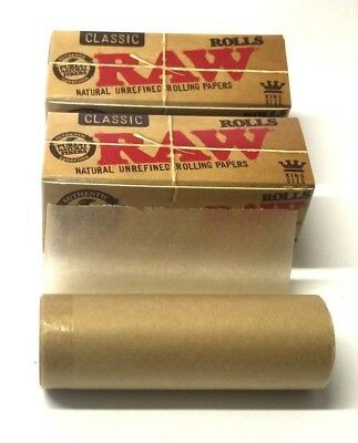 3 x RAW Rolls Natural Classic King Size Smoking Rolling Paper Roll Rips Hemp Gum