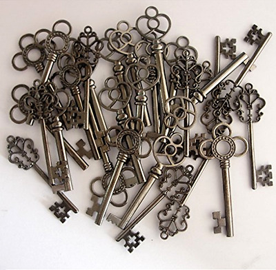 Skeleton Keys Antique Vintage Style Large in Gunmetal Black Finish 30 Key Set