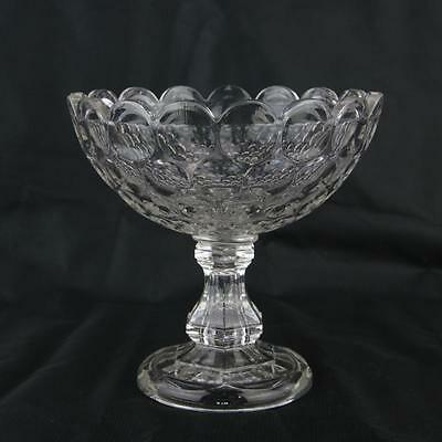 Antique Glass / Crystal Compote Dish Sandwich?  Circles Pattern, Estate Candy