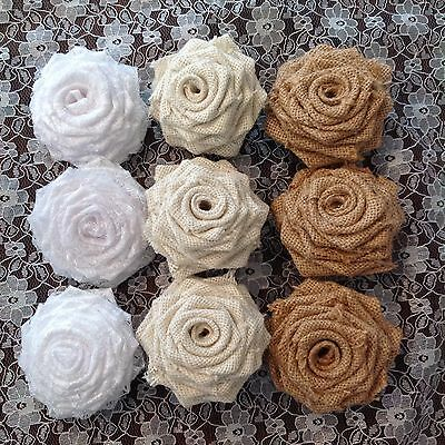 Hessian and Lace Roses Weddings Shabby Chic Vintage x 6