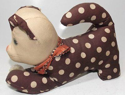 Vintage Fabric Cat kitten Brown polka dotted hand-painted Face handcrafted