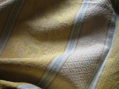 Antique French Ticking Fabric-Sky Blue Stripes-Floral Damask Cotton