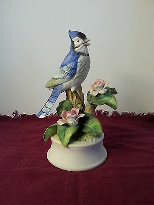 Vintage Porcelain Bisque Royal Crown Blue Jay Figurine 7""
