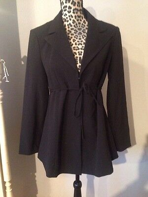 Mimi Maternity Woman Black Blazer Jacket with Tie and hook/eye closure A line