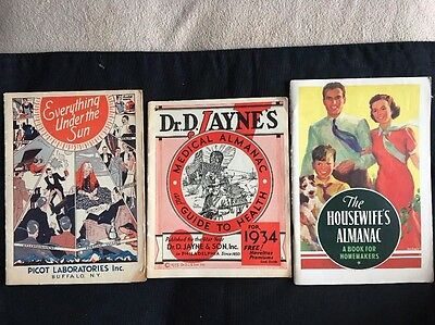 Lot Of 3 Vintage 1930's Almanacs and Advertising Booklets, Excellent Condition