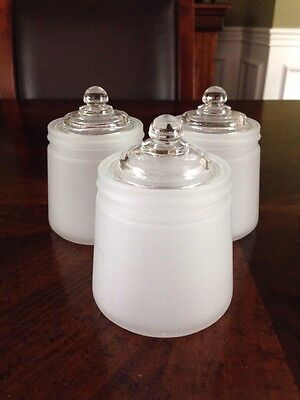 3 Vintage Frosted Glass Baby Nursery Jars With Lids