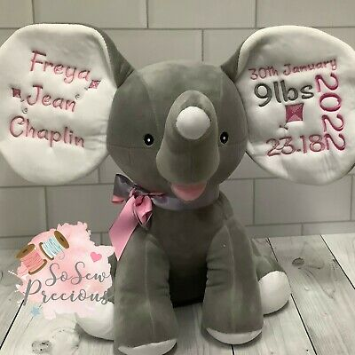 Personalised Cubbie Dumble Elephant, New Baby Teddy Bear Gift, Choice of colour