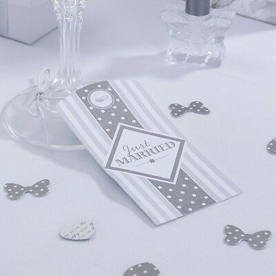 10 Chic Boutique LUGGAGE TAG JUST MARRIED Silver Wedding Napkin Glass Decoration
