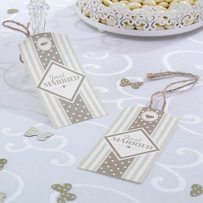 10 Chic Boutique LUGGAGE TAGS JUST MARRIED Gold Wedding Napkin Glass Decoration