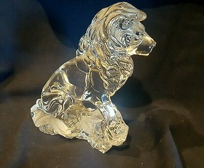 Vintage Lenox Crystal Male Lion Statue With Frosted Ferns at Base Germany