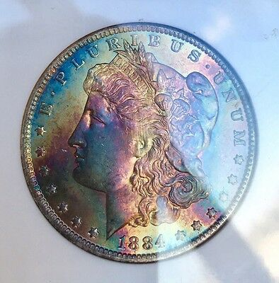1884-O $1 Morgan Silver Dollar NGC MS63 Star Monstrous Colorful Rainbow Toning