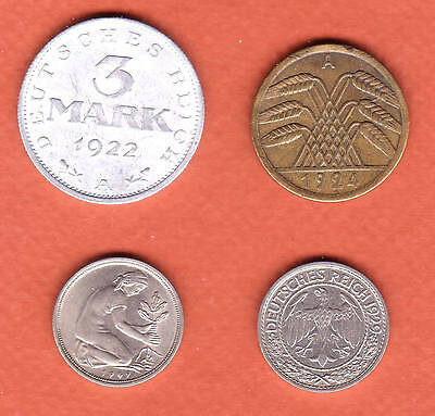 c269   Germany, four collectible coins, 1922 to 1949