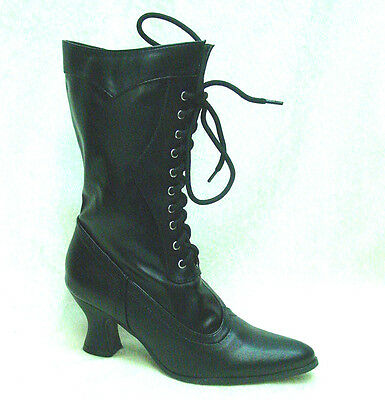 Amelia Victorian style pleather granny boots black lace up and zipper sizes 6-10