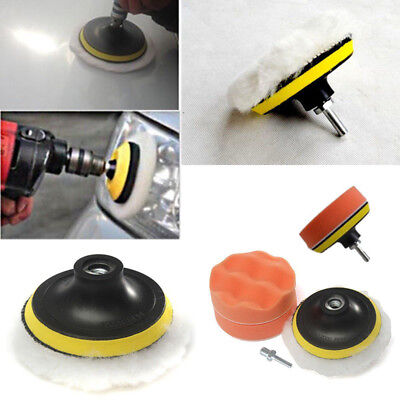 4pcs Car Polisher Gross Polishing Buffer Buffing Pad Kit Set Drill Adapter Tool