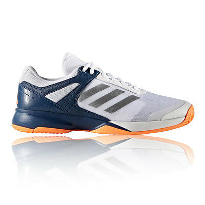 Adidas Adizero Mens White Blue Tennis Court Sports Shoes Trainers Pumps
