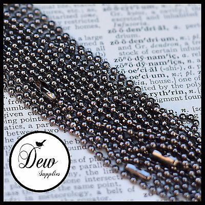 10 x Ball Chains 2.4 mm 60cm Gun Metal ball chain ready to wear necklace