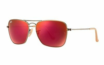 New Ray Ban RB3136 167/2K Bronze/Copper Frame Red Mirror 58mm Lens Sunglasses